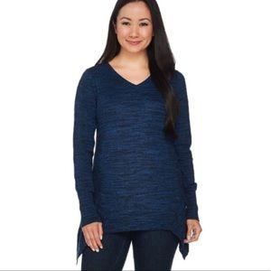 LOGO by Lori Goldstein Sharkbite Sweater Top Sz L